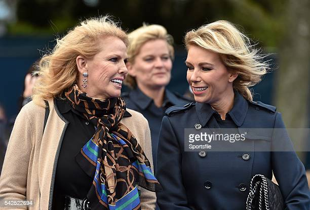 25 September 2014 Allison McGinley right wife of Paul McGinley and Hillary Watson wife of Tom Watson make their way to the opening ceremony Previews...