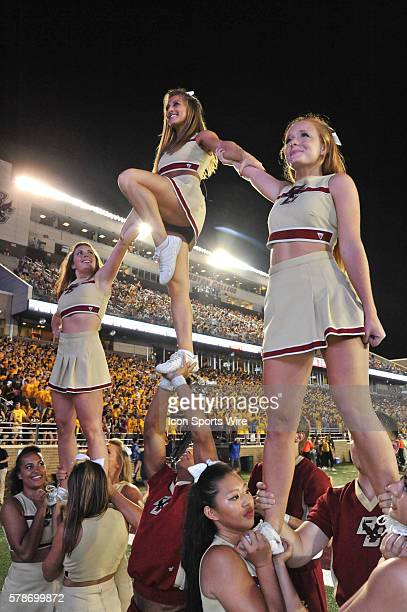Boston College Eagles cheerleaders try to keep the crowd fired up during the Boston College game against Pittsburgh at Alumni Stadium in Chestnut...