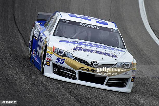 Brian Vickers diving the Toyota Camry during a practice session for the AFibStorycom 400 at ChicagoLand Speedway Joliet Il