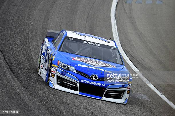 Clint Bowyer driving during a practice session for the AFibStorycom 400 at ChicagoLand Speedway Joliet Il