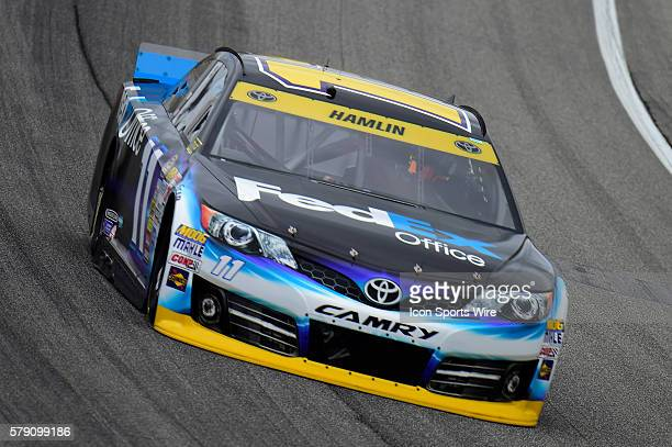 Denny Hamlin driving the race car during a practice session for the AFibStorycom 400 at ChicagoLand Speedway Joliet Il