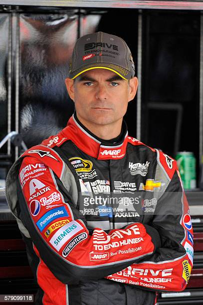 Jeff Gordon in his garage prior to a practice session for the AFibStorycom 400 at ChicagoLand Speedway Joliet Il