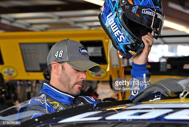 Jimmy Johnson readies for a practice session for the AFibStorycom 400 at ChicagoLand Speedway Joliet Il