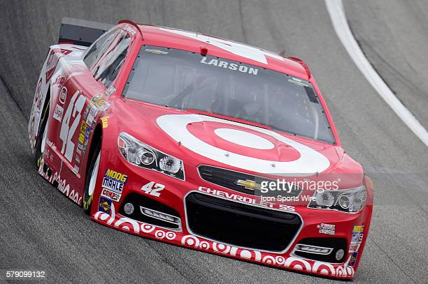 Kyle Larson driving the car during a practice session for the AFibStorycom 400 at ChicagoLand Speedway Joliet Il
