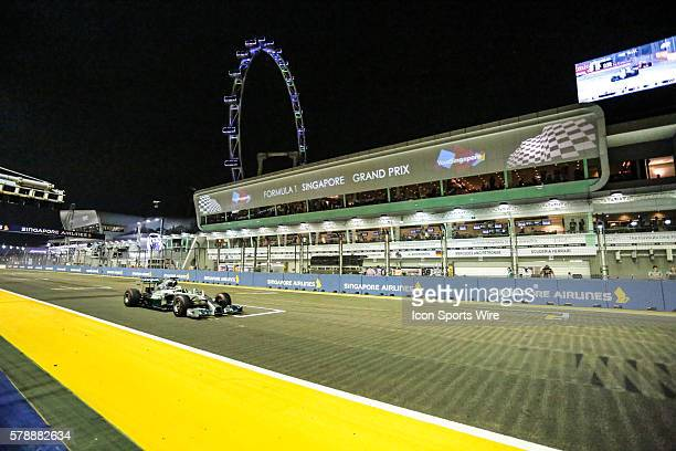Lewis Hamilton Mercedes AMG Petronas F1 Team in action during the race of the Formula One Singapore Airlines Singapore Grand Prix held at Marina Bay...