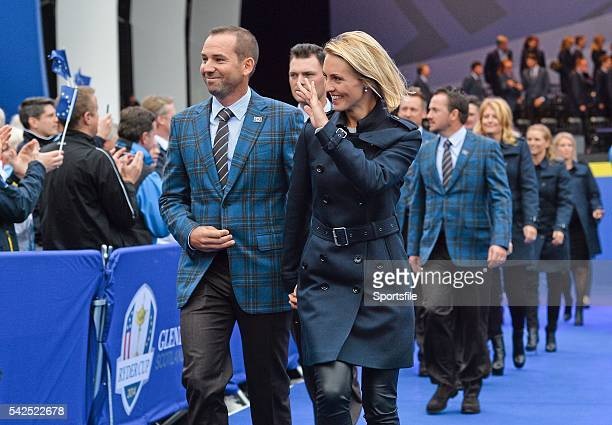 25 September 2014 Sergio Garcia with his partner Katharina Bohm during the opening ceremony Previews of the 2014 Ryder Cup Matches Gleneagles...