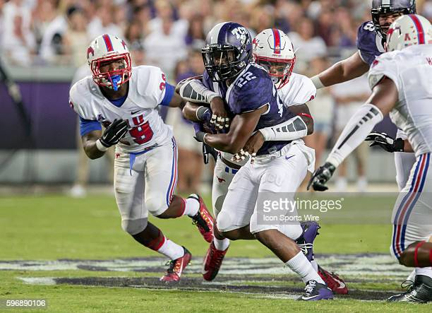 TCU Horned Frogs tailback Aaron Green during the college football game between the TCU Horned Frogs and the SMU Mustangs at Amon G Carter Stadium in...