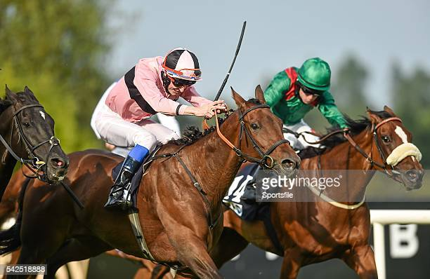 13 September 2014 Toe The Line with Fran Berry up on their way to winning the Irish Stallion Farms European Breeders Fund 'Petingo' Handicap from...