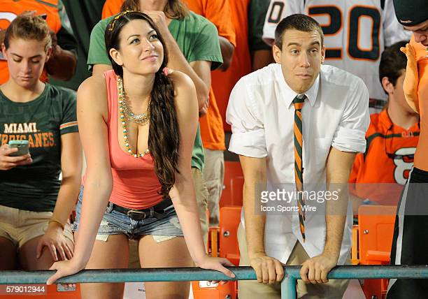 UM fans in the stands during the NCAA football game between the Duke Blue Devils and the University of Miami Hurricanes at the Sun Life Stadium in...
