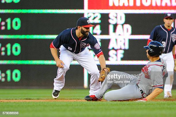 Washington Nationals short stop Danny Espinosa tags out Atlanta Braves shortstop Andrelton Simmons at Nationals Park in Washington DC where the...