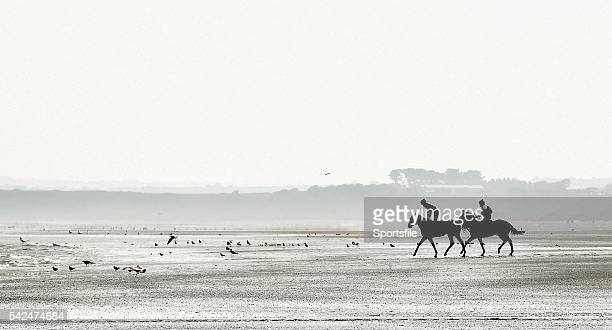 10 September 2015 A general view of jockeys and horses on the beach before the races begin Laytown Races Laytown Co Meath Picture credit Cody Glenn /...