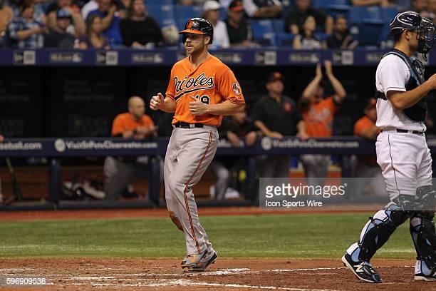 Baltimore Orioles first baseman Chris Davis scores on a Baltimore Orioles center fielder Adam Jones single in the 6th inning of the regular season...