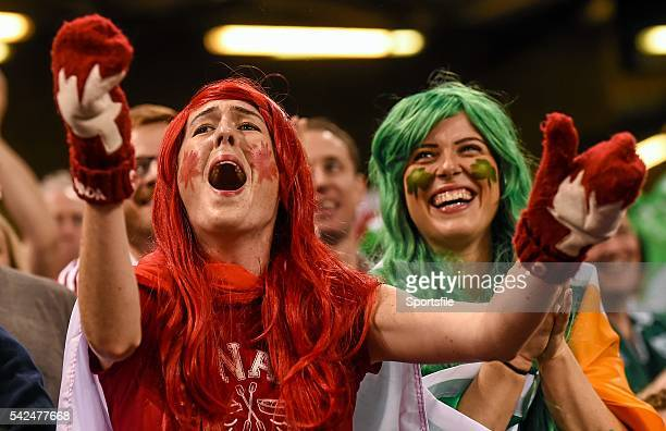 19 September 2015 Canada supporter Catherine McKenna left with Ireland supporter Charlotte Ryan during the game 2015 Rugby World Cup Pool D Ireland v...