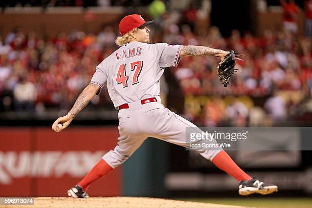 Cincinnati Reds starting pitcher John Lamb delivers a pitch during the game between the Cincinnati Reds and St Louis Cardinals at Busch Stadium in St...