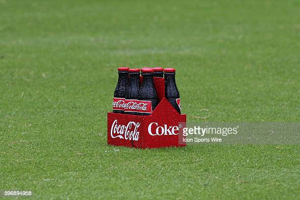 CocaCola bottles are on the tee box for each hole at the third round of the 2015 Tour Championship at East Lake Golf Club in Atlanta Georgia After...