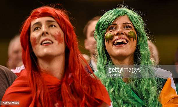 19 September 2015 Ireland supporter Charlotte Ryan right with Canada supporter Catherine McKenna during the game 2015 Rugby World Cup Pool D Ireland...