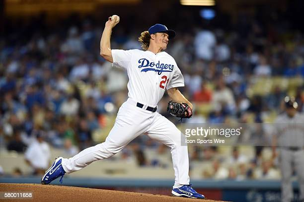 Los Angeles Dodgers Starting pitcher Zack Greinke [3081] throws the first pitch of the game during a Major League Baseball game between San Francisco...