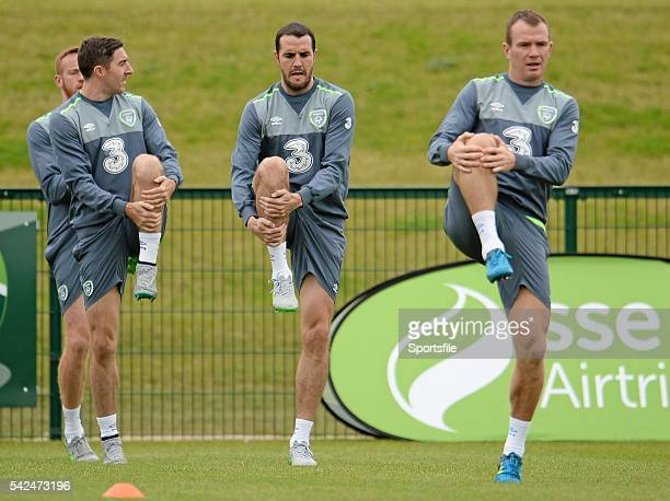 6 September 2015 Republic of Ireland Players from left Stephen Ward John O'Shea and Glen Whelan during squad training Abbotstown Co Dublin Picture...
