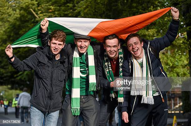 7 September 2015 Republic of Ireland supporters from left Darryl Foy Sean O'Reilly Ciaran Cadden and Rory Flynn all from Enniskillen Co Fermanagh...
