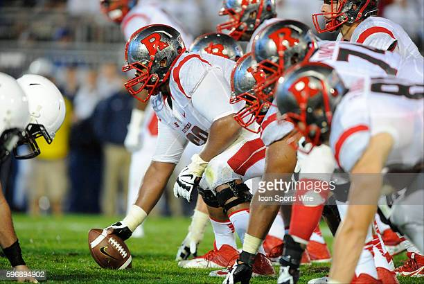 Rutgers center Derrick Nelson and the offensive line set before the snap The Penn State Nittany Lions defeated the Rutgers Scarlett Knights 283 at...