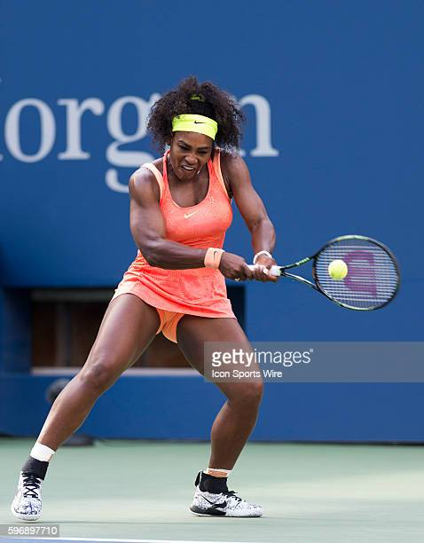 Serena Williams in action here defeats Madison Keys 63 63 during their 4th round match of the 2015 US Open at Billie Jean King National Tennis Center...