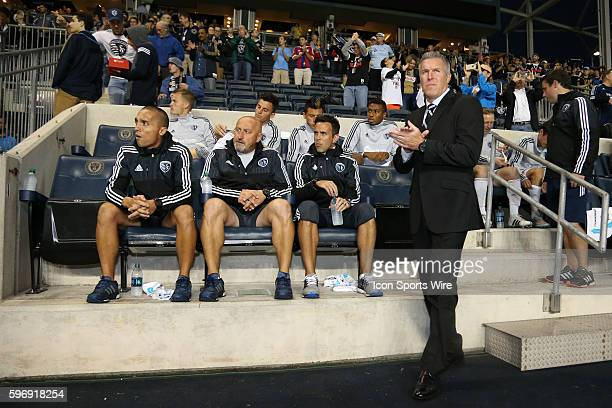 Sporting head coach Peter Vermes stands in front of the bench and assistants Kerry Zavagnin Zoran Savic and Mateus Manoel The Philadelphia Union...