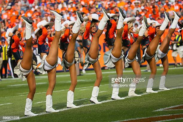 The Denver Broncos cheerleaders perform The Denver Broncos defeated the Baltimore Ravens by a score of 19 to 13 at Sports Authority Field at Mile...