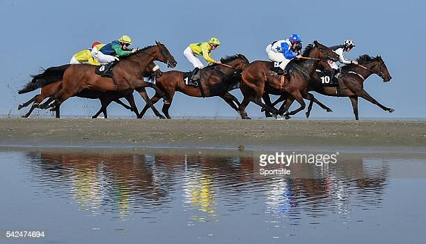 10 September 2015 The running of The Marquees Nationwide Claiming Race with eventual winner Bussa centre with Christopher Geoghegan up in yellow...
