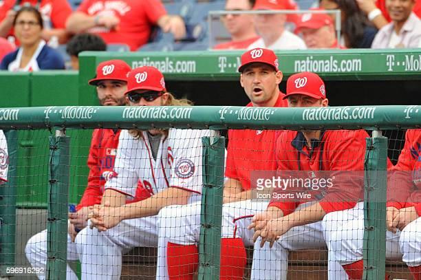 Washington Nationals second baseman Danny Espinosa left fielder Jayson Werth first baseman Ryan Zimmerman and starting pitcher Jordan Zimmermann sit...