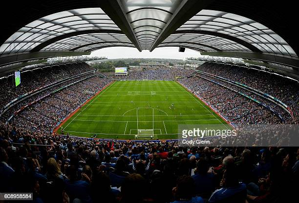 18 September 2016 A general view of the action during the GAA Football AllIreland Senior Championship Final match between Dublin and Mayo at Croke...
