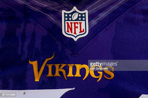 A Minnesota Vikings logo and NFL logo is seen on a Minnesota Vikings jersey in game action between the Minnesota Vikings and the Carolina Panthers at...