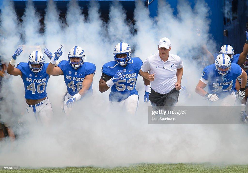 Air Force Academy Coach Troy Calhoun And His Team Take The Field