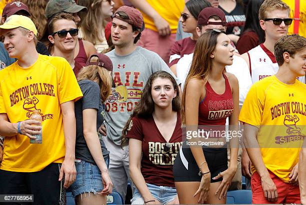 BC fans react as Massachusetts scores the first touchdown of the game The Boston College Eagles defeated the University of Massachusetts Minutemen...