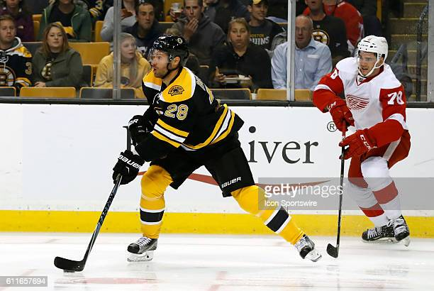 Boston Bruins center Dominic Moore plays the puck back to the point and away from Detroit Red Wings forward Dominic Turgeon The Detroit Red Wings...