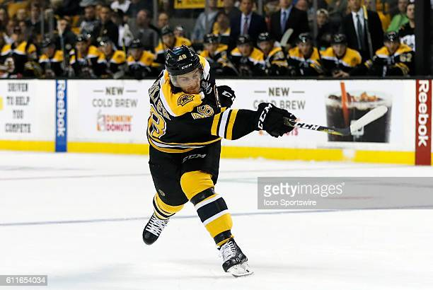 Boston Bruins right defenseman Colin Miller [9220] follows through on a slap shot The Detroit Red Wings defeated the Boston Bruins 51 in a preseason...