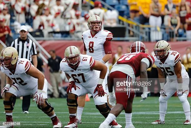 Boston College quarterback Patrick Towles checks the defensive set The Boston College Eagles defeated the University of Massachusetts Minutemen 267...