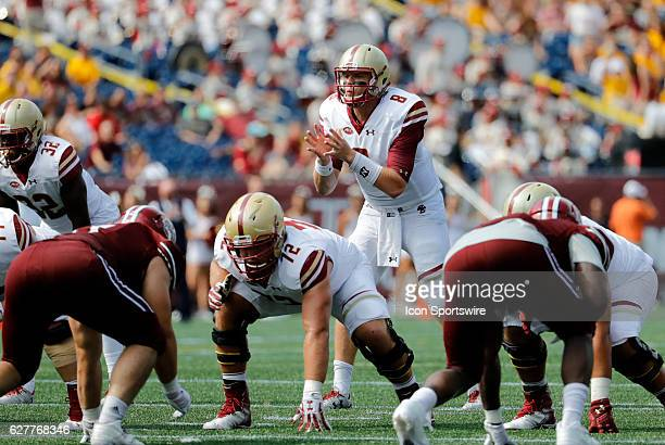 Boston College quarterback Patrick Towles gets ready in the shotgun The Boston College Eagles defeated the University of Massachusetts Minutemen 267...