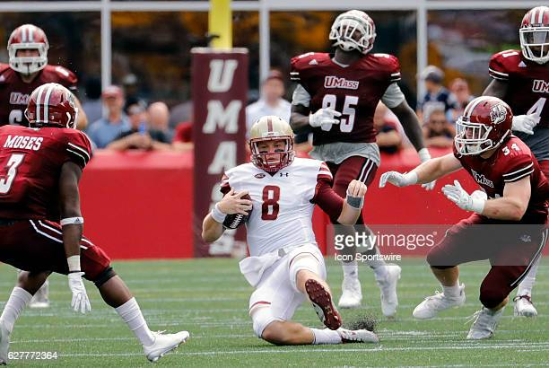 Boston College quarterback Patrick Towles slides after a gain The Boston College Eagles defeated the University of Massachusetts Minutemen 267 at...