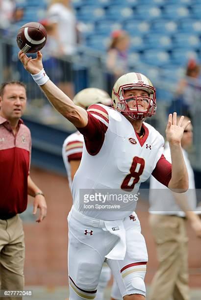 Boston College quarterback Patrick Towles warms up before the game The Boston College Eagles defeated the University of Massachusetts Minutemen 267...