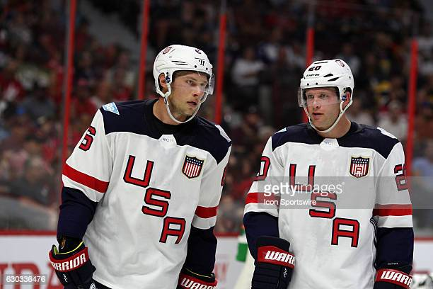 CErik Johnson and Ryan Suter during World Cup of Hockey PreTournament action at Canadian Tire Centre in Ottawa On