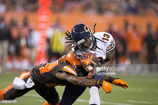 Chicago Bears WR Kevin White is tackled by Cleveland Browns DB Ibraheim Campbell after making a catch during the first half of the National Football...