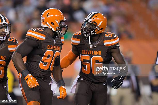 Cleveland Browns LB Emmanuel Ogbah and Cleveland Browns LB Demario Davis celebrate after Oghba sacked the quarterback during the first quarter of the...