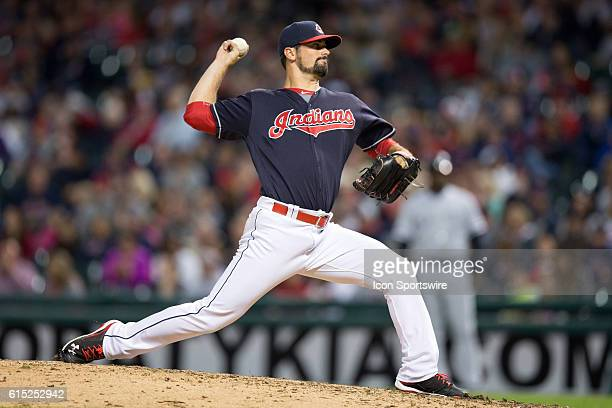 Cleveland Indians Pitcher Adam Plutko [11078] delivers a pitch to the plate in his major league debut during the ninth inning of the Major League...