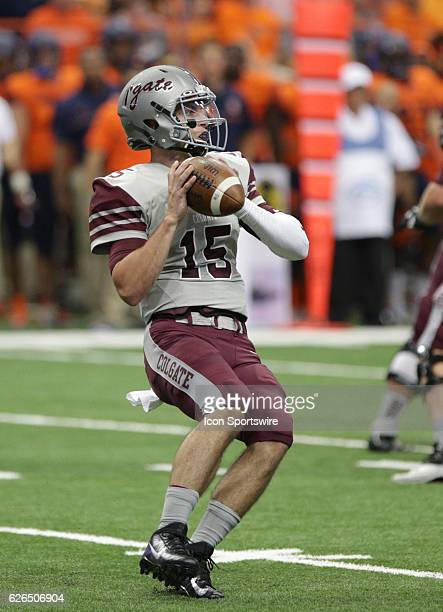 Colgate Raiders quarterback Jake Melville looks to throw during a NCAA football game between the Colgate Raiders and the Syracuse Orange at Carrier...