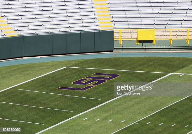End zone image of LSU logo during pregame at Lambeau Field in Green Bay WI