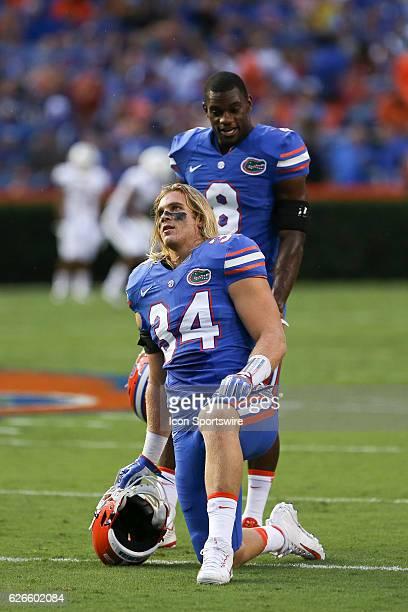 Florida Gators linebacker Alex Anzalone and Florida Gators defensive back Nick Washington before the NCAA football game between the Massachusetts...