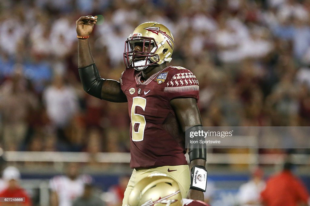 Florida State Seminoles linebacker Matthew Thomas (6) during the NCAA football game between the Mississippi Rebels and the Florida State Seminoles at Camping World Stadium in Orlando, FL.
