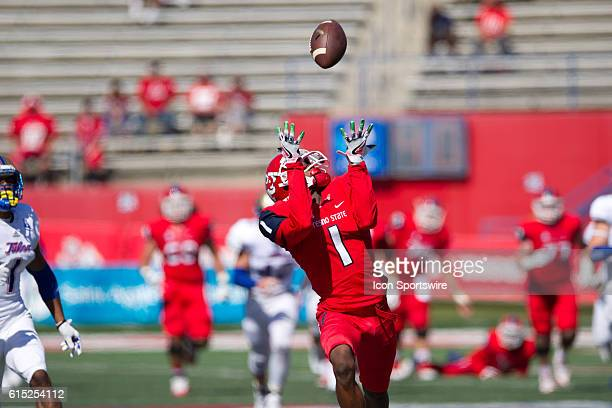 Fresno State Bulldogs wide receiver Jamire Jordan catches a pass and runs it in for a touchdown during the game between the Fresno State Bulldogs and...