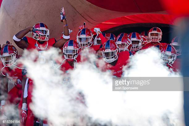 Fresno State gets ready to take the field before the game between the Fresno State Bulldogs and the Tulsa Golden Hurricane at Bulldog Stadium in...