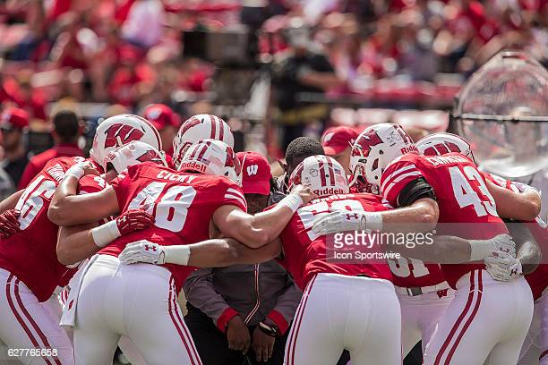 Injured Wisconsin Badgers inside linebacker Chris Orr pumps up Wisconsin Badgers inside linebacker Jack Cichy Wisconsin Badgers inside linebacker...